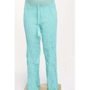 Pants - 💝 TURQUOISE CRINKLE PANTS WITH CROCHET BAND
